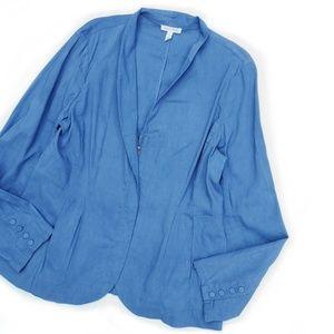 Eileen Fisher Blue Linen Zipped Jacket